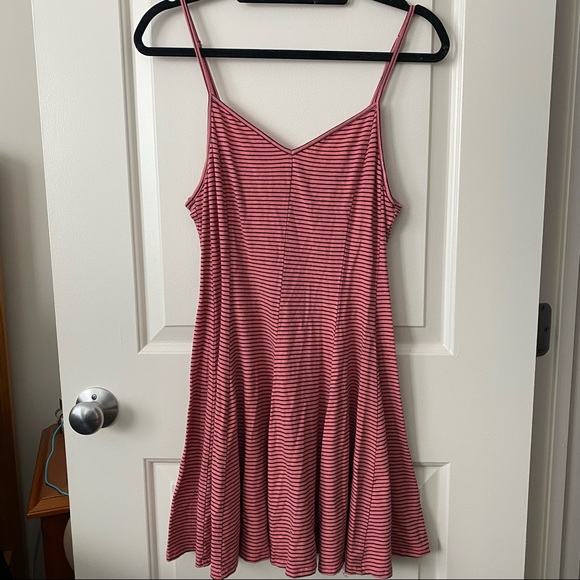 Pink and Blue Striped AE Skater Dress